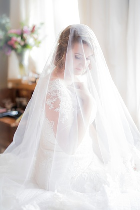 wedding portrait bride with short hair under handmade veil oleg cassini wedding dress illusion