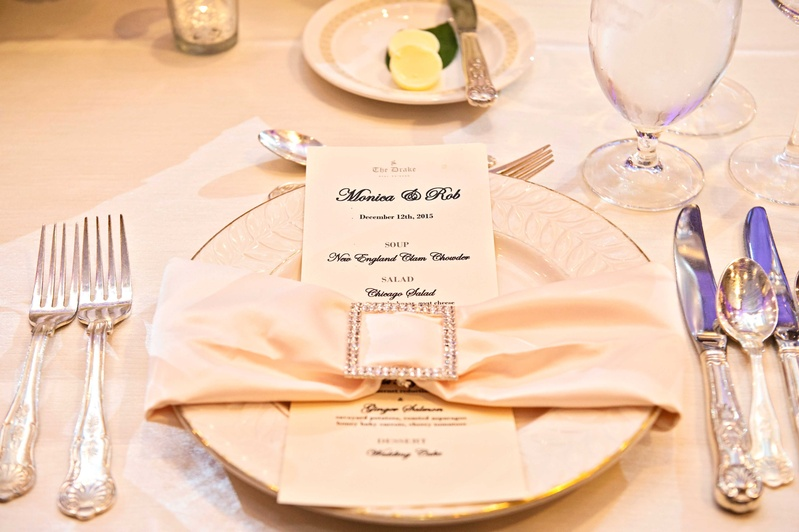 menu at the drake hotel, champagne napkin with jeweled clip
