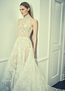 Romona Keveza Collection Bridal lace ball gown with high neckline wedding collar