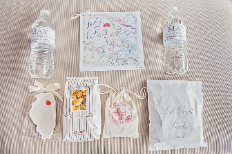 Welcome bag for Chicago wedding cookie water botle map popcorn emergency kit and snacks