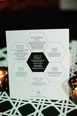 Wedding buffet table menu on honeycomb pattern