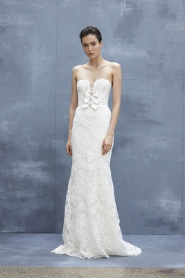 9ded2d310b4 Amsale Fall 2018 Strapless slim Alençon lace gown with plunging neckline  and bows with crystals