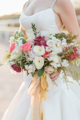 White garden roses pink rose purple dahlia greenery gold champagne ribbon ripped edge trumpet gown