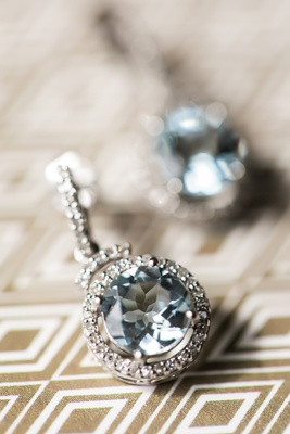 aquamarine earrings with diamond halo for something blue