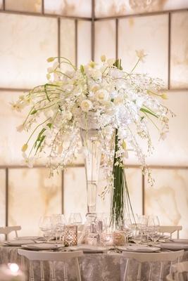 white green tall centerpiece glass vase contemporary roses hydrangea tulips silver new york wedding