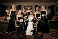 Bride with her bridesmaids in ebony gowns