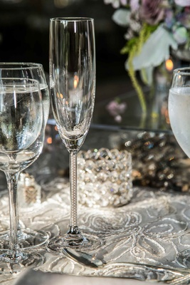 Champagne flute with pearls in glass stem