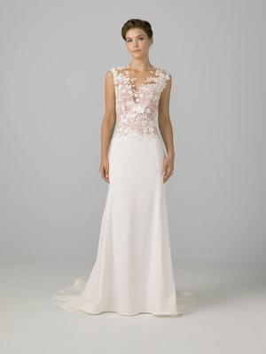 Azul by Liancarlo 2018 bridal collection wedding dress sheath gown illusion neckline 3d flowers