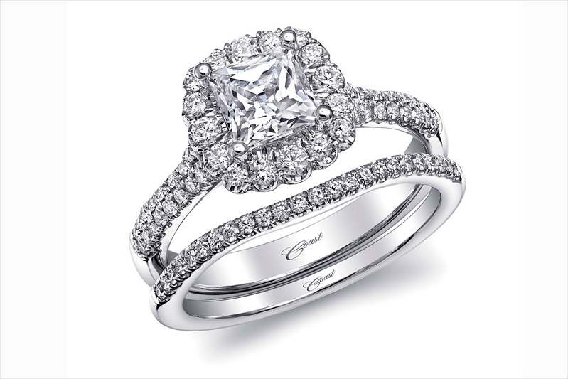 Coast Diamond halo diamond engagement ring and band