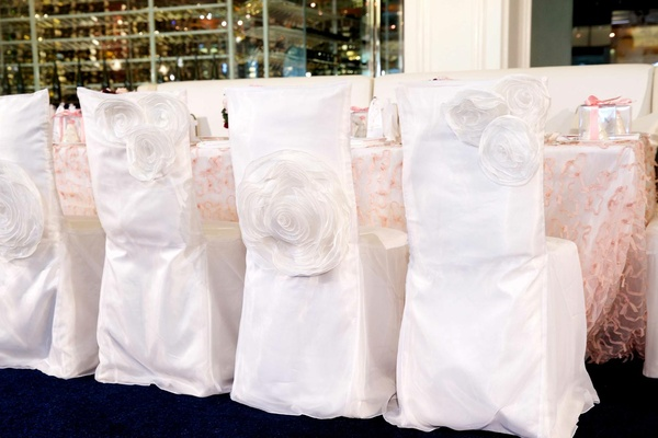 Ashley Hebert's bridal shower lunch chairs