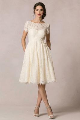 Classic lace A-line short wedding dress by Jenny Yoo