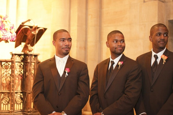 Groom with groomsmen at wedding ceremony
