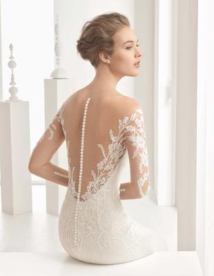 Rosa Clara Bridal Naim wedding dress with long illusion sleeves lace tattoo buttons down back