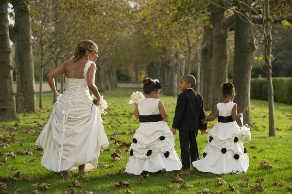 Corset-back style wedding dress and children