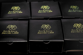 custom wedding favor boxes in black with gold printed name and wedding date
