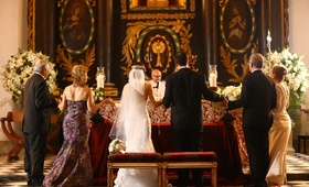couple both sets parents catholic church ceremony dominican republic wedding religious traditional