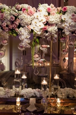 "Wedding reception flower centerpiece ""floating"" mirror table white orchid pink rose hydrangea"