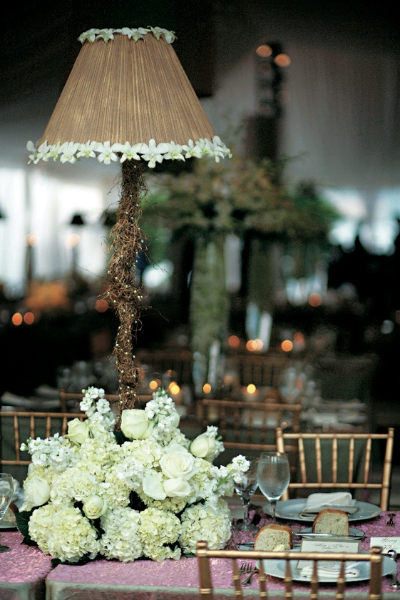 Reception dcor photos lampshade floral centerpiece inside weddings brown lamp lined with flowers with white flowers at base aloadofball Gallery