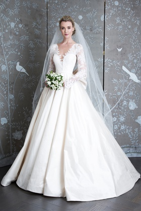 Legends Romona Keveza Spring 2019 collection lace taffeta v neck ball gown with long sleeves