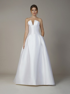 Liancarlo Fall 2018 Soft Mikado strapless drop waist A-line gown with pockets