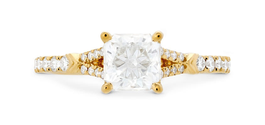 Hearts on Fire yellow gold Cali Chic Dream Rope Split Shank diamond engagement ring