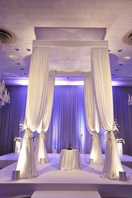 Jewish wedding chuppah with four-poster canopy