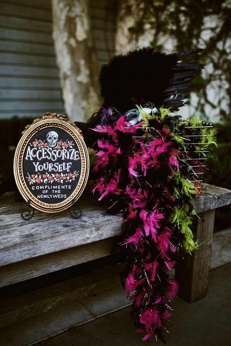 wedding reception halloween theme accessorize yourself compliments of the newlyweds chalkboard sign