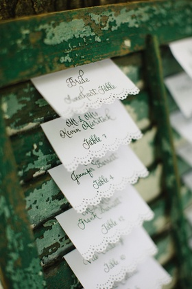 doily-trimed escort cards displayed on vintage green wooden window shade