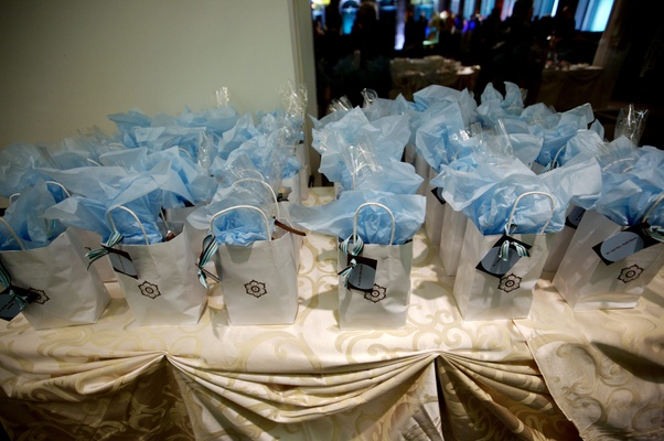 Blue and white gift bag display