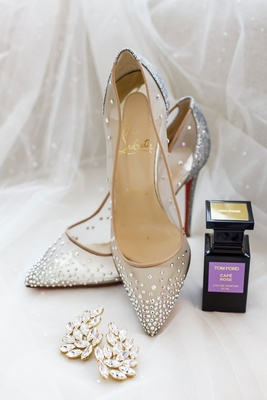 Christian Louboutin wedding shoes rhinestone crystals on sheer pump tom ford perfume and ear cuffs
