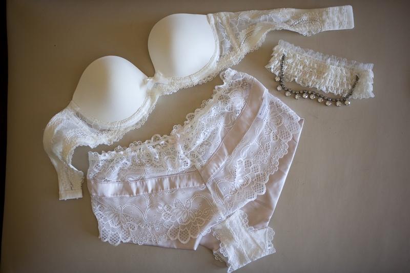 Bridal underwear, bra, and garter