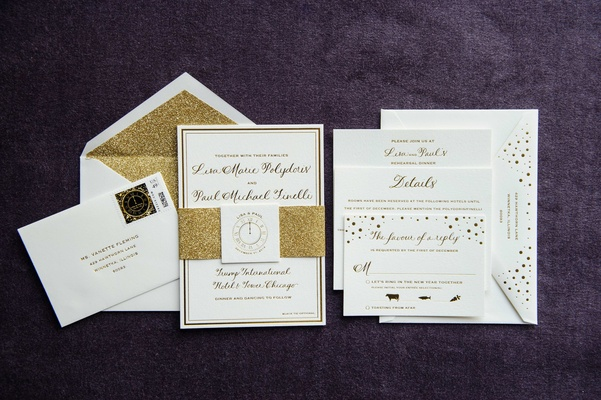 new year's eve wedding with glittering metallic details in, Wedding invitations