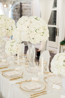 white and gold wedding decor, centerpieces with white hydrangeas and roses, tall centerpieces