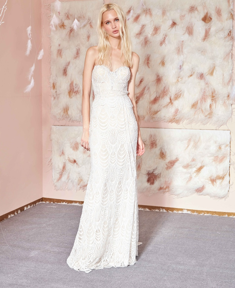3 Collection Gala By Galia Lahav Strapless Beaded Lace Wedding Dress Scallop Hem