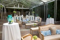 blue and white wedding décor, southern-inspired wedding lounge area cocktail tables