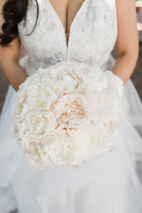 wedding bouquet light pink and ivory peony flowers lace dress