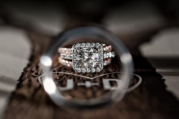 diamond ring with square halo and band of three rows of diamonds