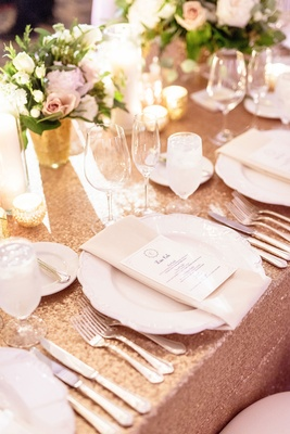 Wedding reception amy crawford and gerrit cole wedding rose gold sequin linen white china napkin