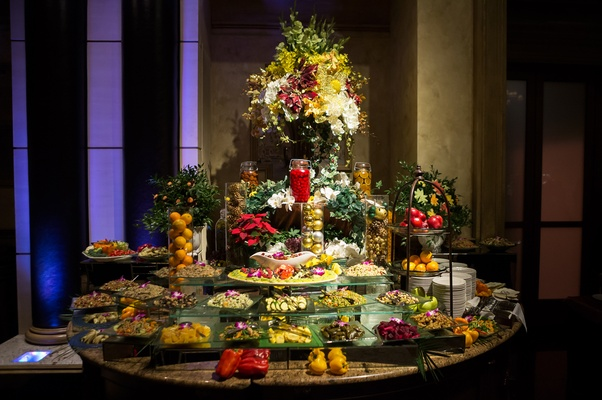 large crudite display at wedding reception, san francisco giants joe panik wedding