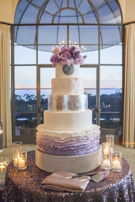 Ombre cake layers with pink and purple flowers