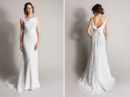 Wedding dresses suzanne neville 39 s songbird collection for Cowl back wedding dress