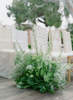Kate Moss wedding ceremony inspiration with lace slipcovers