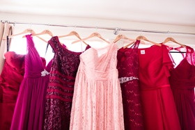 mismatched bridesmaid dresses in wine colors, red wine to rosé