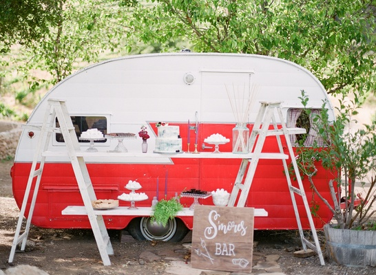 s'mores bar ladders red white trailer california boho chic wedding styled shoot unique vintage treat