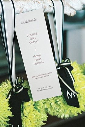 White stationery with ceremony information
