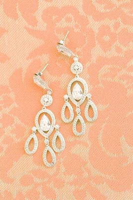 wedding chandelier earrings with-shaped halo, pear diamond