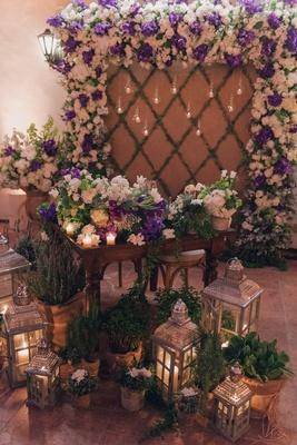 Lauren Kitt and Nick Carter's reception backdrop