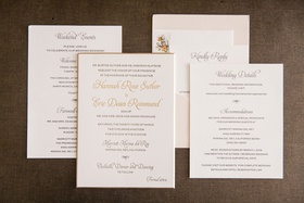 wedding reception gold rim invitation with gold calligraphy script weekend events wedding details