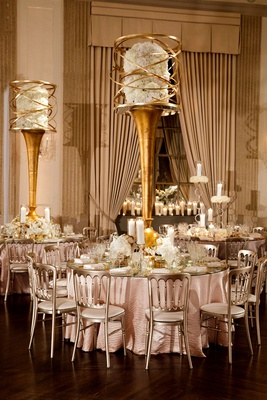 wedding reception round table metallic chair mirror top gold centerpiece hydrangeas swirling metal