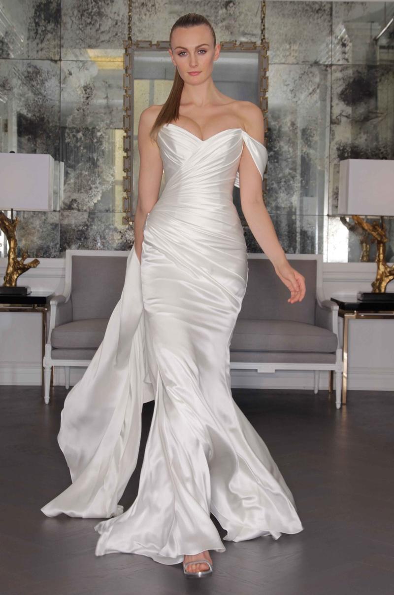 grecian wedding dress Romona Keveza Luxe Bridal Fall Grecian wedding dress with off the shoulder straps